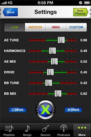 Aphex Audio Xciter App settings screen