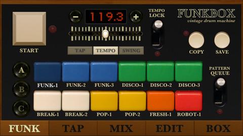Funkbox Drum Machine screen example