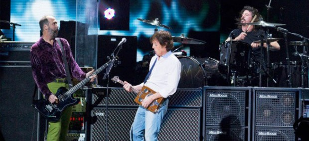 Paul McCartney with surviving members of Nirvana