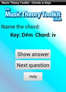 Music Theory Chords in Minor Keys Android App - screen example