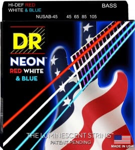 DR Strings USA Flag NEON Coated Bass Strings