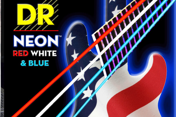 DR Strings Now Shipping USA Flag NEON Red, White and Blue Color Coated Strings