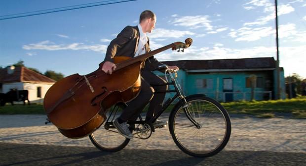 Bassist on a Bike