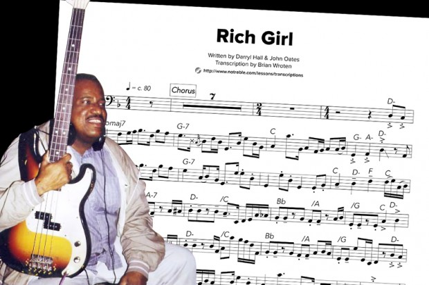 Hall and Oates Rich Girl Bass Transcription