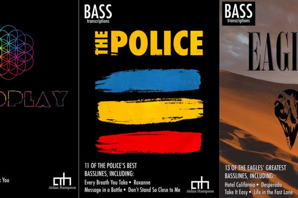 Aidan Hampson Publishes Best of Coldplay, The Police, and The Eagles Bass Transcription Books