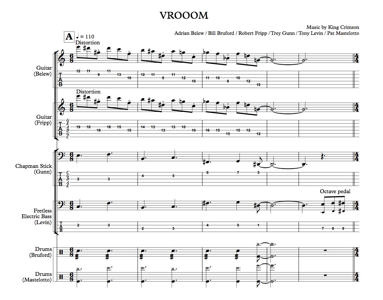 King Crimson: THRAK - The Complete Scores (VROOOM excerpt)