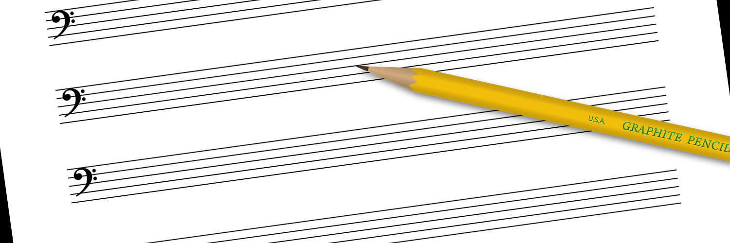 Bass clef staff paper with pencil