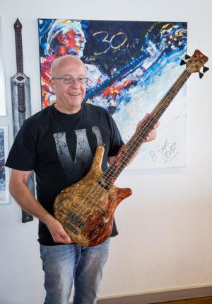 Hans-Peter Wilfer with Warwick 60th Anniversary Thumb Bass