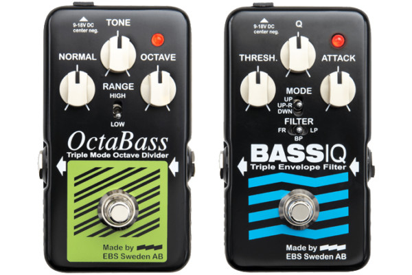 EBS Now Shipping Blue Label Series OctaBass and Bass IQ Pedals