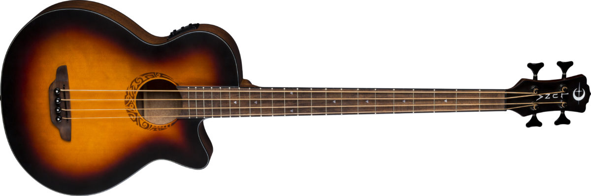 Luna Tribal Tobacco Sunburst Acoustic-Electric Bass Guitar
